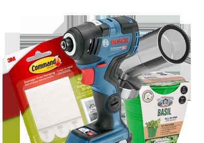 Bosch Drill, Command Stickers, Basil pot and Garden Light
