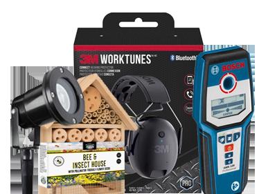 Garden light, Bee Hive, 3M Headphones, Bosch Tool