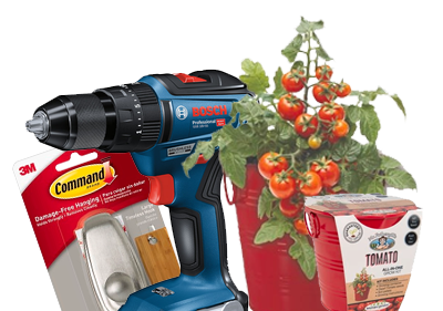 Command hook, Bosch Drill, Tomato plant